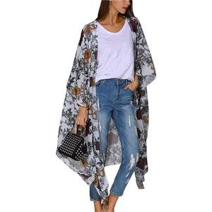 Floral Kimono Cardigan Long Swimwear Cover Up